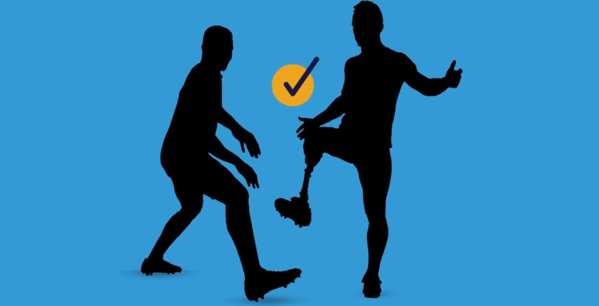 risk management man with prosthetic leg playing soccer